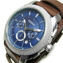 FOSSIL (フォッシル) FS4793 MACHINE machine chronograph double leather belt blue dial men watch watch