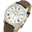FOSSIL ( fossil ) FS4839 Grant / grant chronograph leather belt beige dial mens watch