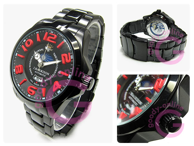 J.HARRISON(ジョンハリソン) JH-022BR 自動巻き 3Dインデックス サン&ムーン表示 腕時計