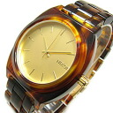 NIXON TIME TELLER ACETATE (Nixon thyme Teller acetate) A327-1424/A3271424 GOLD X MOLASSES/ molasses (sugared water) tortoiseshell pattern unisex watch watch