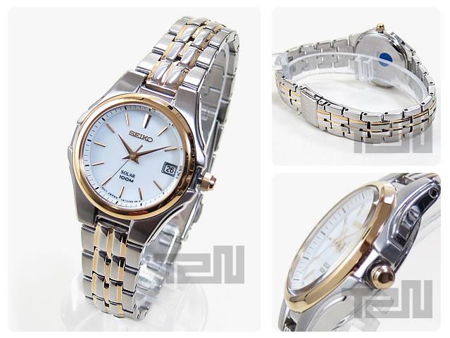 SEIKO (セイコー)SOLAR/ソーラー SUT038 ゴールド×シルバー コンビ メタルベルト レディースウォッチ 腕時計