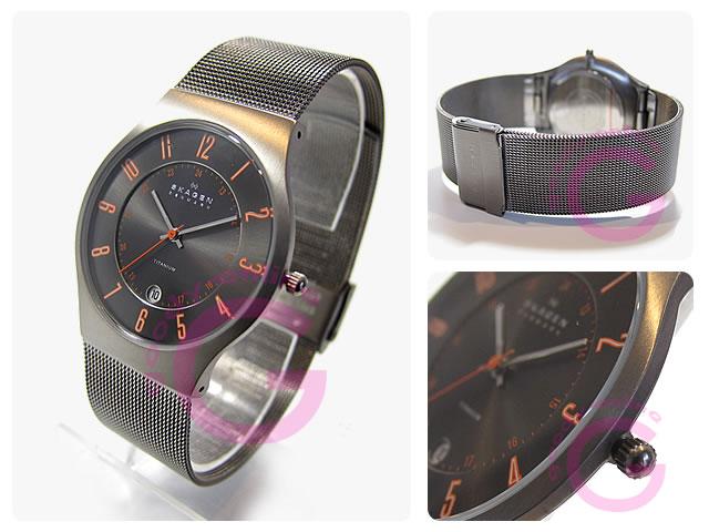 SKAGEN(スカーゲン) 233XLTTMO ウルトラスリム チタン メッシュ メンズウォッチ 腕時計