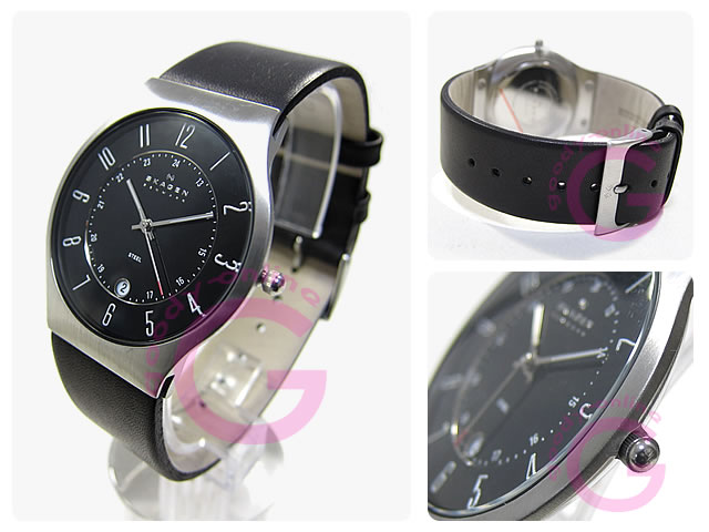 SKAGEN(スカーゲン) 233XXLSLB ウルトラスリム レザーベルト メンズウォッチ 腕時計