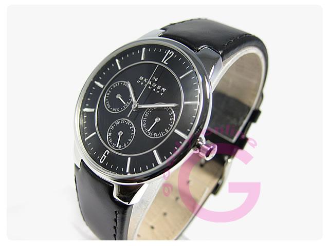 SKAGEN(スカーゲン) 331XLSLB マルチファンクション レザーベルト メンズウォッチ 腕時計