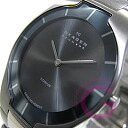 SKAGEN ( Skagen ) 585 XLTMXM BLACK LABEL and black label ultra slim titanium silver mens watch