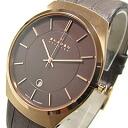 SKAGEN (scar gene) 925XLRLD ultra slim leather belt Dai Brown Al men watch watch