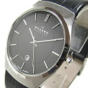 SKAGEN (scar gene) 925XLSLB ultra slim black label leather belt black X silver men watch watch