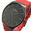 SKAGEN (scar gene) SKW6073 AKTIV/ active Titanium titanium silicon rubber belt black X red men watch watch