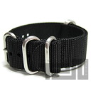 T2N Strap (strap T2N) CHZ-5BK 5RING premium nylon regular size strap band Black replacement belt for military watches