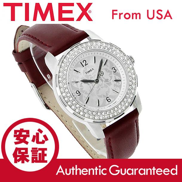 TIMEX (タイメックス) T2P399 STARLIGHT/スターライト クリスタル装飾 レザーベルト シルバー レディースウォッチ 腕時計