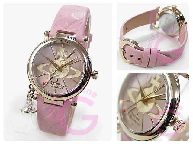 Vivienne Westwood (ヴィヴィアン・ウエストウッド) VV006PKPK ORB/オーブ レザーベルト ゴールド×ピンク ビビアン レディースウォッチ 腕時計