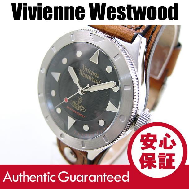 Vivienne Westwood (ヴィヴィアン・ウエストウッド) VV160BKBR レザーベルト ブラックダイアル ビビアン メンズウォッチ 腕時計