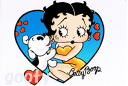 Betty Boop betty boop picture postcards cute postcards A BOOP AND HER PUPPY heart puppy & Betty