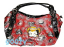 (Betty) Betty Boop BETTY BOOP with skin red satchel bag rich combination leather case skin patch rhinestone western plains