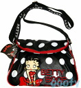 (Betty) Betty Boop BETTY BOOP shoulder bag diagonally over a rich Pochette Bag If skin if skin emblem lid bent type on black white dot ball red piping