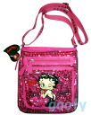 (Betty) Betty Boop BETTY BOOP shoulder bag diagonally over sequined bag Pochette x if skin with skin patch 2-way pilot bag ピンクスパン call throwing KISS ♪ pattern