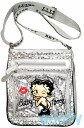 (Betty) Betty Boop BETTY BOOP shoulder bag diagonally over sequined bag Pochette x if skin with skin patch 2-way pilot bag silver sequin throwing KISS ♪ pattern
