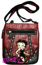 (Betty) Betty Boop BETTY BOOP shoulder bag diagonally over rich Pochette Bag pilot bag case skin if skin patch Burgundy type push ostrich style rhinestone studs