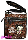 (Betty) Betty Boop BETTY BOOP shoulder bag diagonally over rich Pochette Bag pilot bag with skin if skin patch animal print-press Brown
