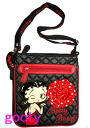 (Betty) Betty Boop BETTY BOOP shoulder bag diagonally over rich Pochette Bag pilot bag with skin leather patch black quilted caviar patch rose rhinestone throwing KISS!
