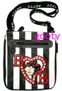 (Betty) Betty Boop BETTY BOOP shoulder bag diagonally over rich Pochette Bag pilot bag with skin if skin patch stripes If skin caviar type press with Rhinestone studs