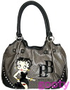 The 合皮合皮 patch charcoal gray that Betty (Betty) ブープ BETTY BOOP Satchell bag size grain tote bag ostrich type push 合皮 is rich