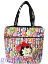 (Betty) Betty Boop BETTY BOOP tote bag ZIP TOP SHOPPER print logo pattern white