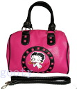 Betty (Betty) ブープ BETTY BOOP small size Boston bag 合皮 pink X black arm throw KISS ♪ pattern
