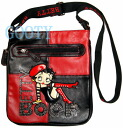 (Betty) Betty Boop BETTY BOOP shoulder bag diagonally over rich Pochette Bag pilot bag with skin if skin patch red × black beret and long boots