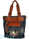 (Betty) Betty Boop BETTY BOOP tote bag case skin denim black denim / Brown with leather