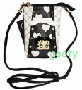 Betty (Betty) Boop BETTY BOOP black heart quilted caviar in mobile case スマホケース Pochette accessories bag shoulder tied if skin enamel patch rhinestone