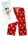 (Betty) Betty Boop betty boop tank top outfit Be Mine! tank White x red bottom room pajamas