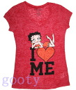Chibi (Betty) Betty Boop betty boop PITA T T V Neck T Shirt red I LOVE ME large size