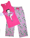(Betty) Betty Boop betty boop tank top outfit Be Mine! ピンクタンク × グレーボトム room pajamas