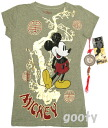 Mickey Mouse Chinese pattern short sleeve t-shirt (PITA T ) damage processing vintage-style khaki Green