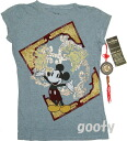 Mickey Mouse Chinese pattern short sleeve t-shirt (PITA T ) damage processing vintage style gray