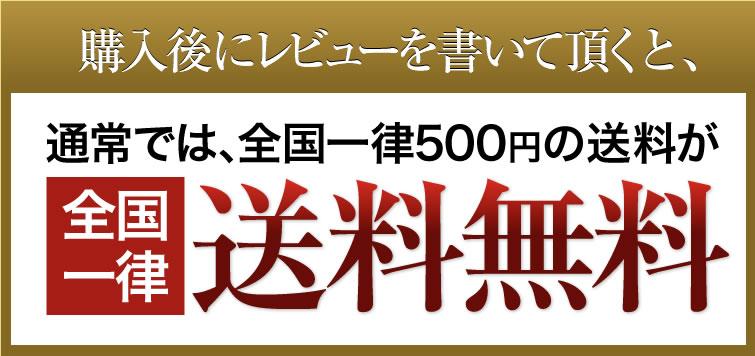 購入後にレビューを書いて頂くと、通常では、全国一律525円の送料が全国一律送料無料!
