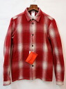 id (eye D) check shirt RED 1 keeping on cutting it