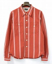 BANKROBBER ( Bank Rover ) COMPTON STRIPE WORK SHIRT stripe work shirt RED 16