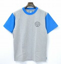 FLIP THE SCRIPT (script flip) 2 TONE T-SHIRT GREY×BLUE M 2 tone t-shirt