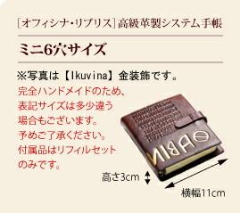 [オフィシナ・リブリス]高級革製システム手帳カバー/ミニ6穴サイズ/※写真は【Ikuvina】金装飾です。/完全ハンドメイドのため、表記サイズは多少違う場合もございます。予めご了承ください。/高さ3cm/横幅11cm
