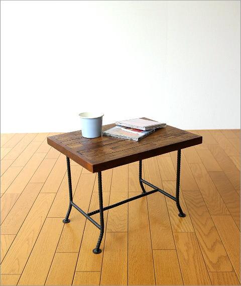 アイアンとウッドの組み木ローテーブル(6)