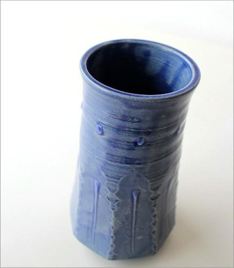 和陶器ベース 青釉ソギ花入れ(2)