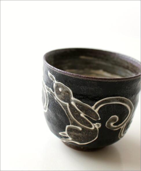 煎茶碗 うさぎ(黒)(1)