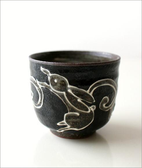 煎茶碗 うさぎ(黒)(5)