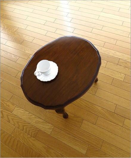 マホガニーオーバルローテーブル 猫脚(4)
