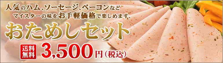 おためしセット 人気のハム、ソーセージ、ベーコンなどマイスターの味をお手軽価格で楽しめます。 送料無料 3,000円(税込)