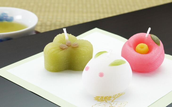 冬の和菓子キャンドル(松・雪うさぎ・椿)