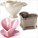 ハート型花器(陶器)