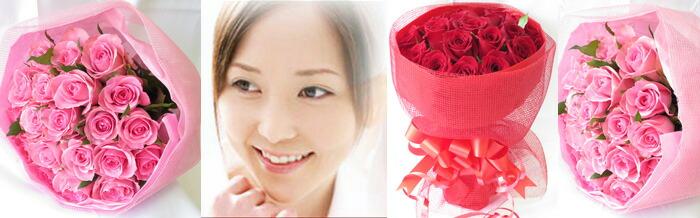 女性とバラ花束